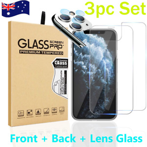 iPhone 11Pro Max Front + Back + Camera Lens Tempered Glass 3pc Set