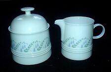 Melitta Friesland Germany White/Blue Bell Flowers Jug +Lidded Sugar Bowl c1980
