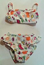 Made in USA 12 Months Toddler LL Bean Two Piece Bikini Ruffles Fruit White Lined