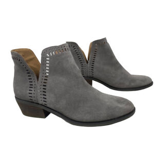 Lucky Brand Women's 8 Suede Cutout Booties Grey LP-Francee Bustina Ankle V Cut