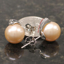 14k White Gold Sparkling Diamonds; 9-10mm Pink Cultured Pearl Stud Earrings TPJ