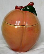 Block Molde Hand Painted Portugal Peaches Biscuit Barrel By Barbara Eigen