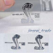 Pair (2 pcs) Polished Chrome COBRA SHELBY GT500 Logo Car Emblem Sticker Decal