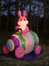 New 7' Long Lighted Easter Bunny Rabbit in Egg Car Inflatable Airblown Blow-up