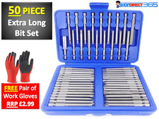 50 Piece Hex Star Torx Extra Long Security Bits Spline Flat Screwdriver Set 6-20