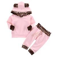 Infant Baby Girl Clothes Pink Coat Hoodie Tops Sweatshirt Pants Leggings Outfits