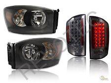 2007 2008 Dodge Ram 1500 2500 3500 Black Headlights + Smoke LED Tail Lights