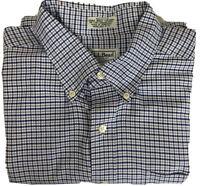 LL Bean Mens Button Down Shirt Size 18-33 Regular White Blue Plaid 100% Cotton
