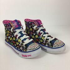 Girls Sketcher Twinkle Toes Hightop Black Multi Emoji 2.0 Breeze Sneakers
