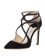 JIMMY CHOO 'lancer' 100 Black Suede Studded Heels Stiletto Shoes Size Uk 6 Eu 39