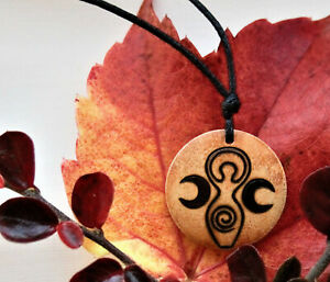 Pagan Goddess Symbol Necklace Mother Earth Jewellery Gaia Pendants Triple Moon