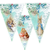 Bunting Peter Rabbit Birthday party baby shower christening blue garland