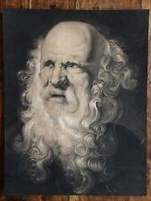 «Portrait» Grand dessin ancien craie et fusain, non signé