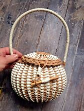 1960's PROVENCE BOHO WOVEN ROUND BASKET PURSE  BALL SHAPE PVC & WICKER FRANCE
