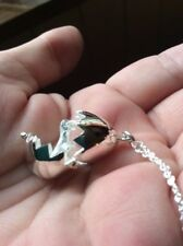 Cute Solid Sterling Silver Baby Dinosaur Egg Pendant Necklace 8.5g Opens Up! 18""
