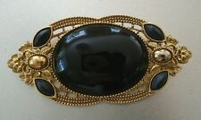 Tone Oval Brooch Pin Large Black Stone Ornate Gold