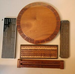 Vintage Cribbage Boards Lot of 5 Eddy 1940 Wood Brass Inlaid Circle Bemis Game