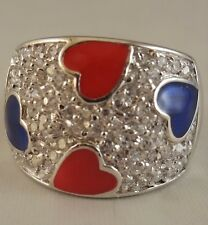 P  Ring   [ 925 Sterling Silver & Clear Cubic Zircon ] Hearts: Red and  Blue