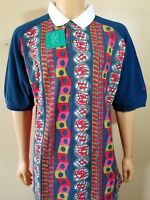 Reebok Vintage Golf Shirt Retro Men's XL Abstract Groovy New with Tags Polo Nice
