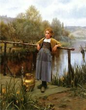 Oil painting Daniel Ridgway Knight - Young Girl by a Stream with water pot 36""