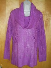 NEW womens ladies size S purple orchid ELLE crocheted sparkly cowl neck sweater