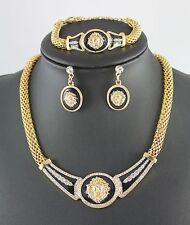 Trendy Gold-Tone Crystal Enamel Lion Head Choker Necklace Bracelet Earring Set