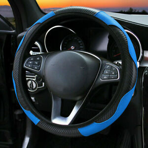 Car Steering Wheel Cover Breathable Anti Slip PU Leather Steering Covers 15''