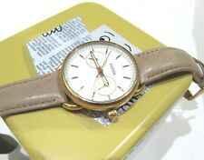 Fossil Women's Tailor Watch Beige Leather Strap Rose Gold Stainless ES4007 NWT