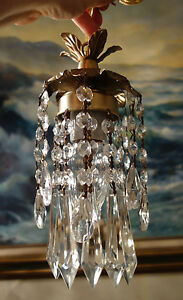 Petite pendant Flower lamp Chandelier lighting Crystal prism cascade Brass Tole