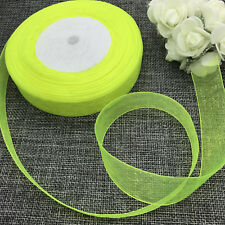 NEW 5 yards 2inch 50mm width Satin Edge Sheer Organza Ribbon Hair Bow Craft 01