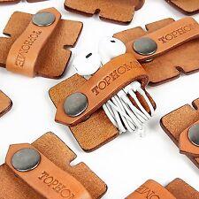 TOPHOME Cord Organizer Headset Headphone Earphone Wrap Winder Genuine Leather OG