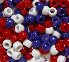 Red White Blue Patriotic Mix 9x6mm Pony Beads made in USA 500pc kandi jewelry