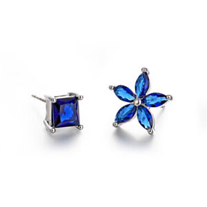 S925 Blue Cubic Zirconia Flower Square Unmatched Stud Earrings Fashion Jewllery
