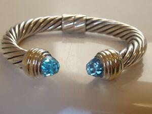 $1550 DAVID YURMAN 14K GOLD SS BLUE TOPAZ BRACELET 10mm.