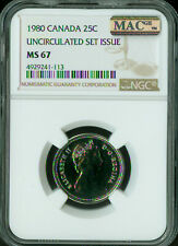 1980 CANADA 25 CENTS NGC MAC MS-68 PQ 2ND FINEST GRADE SPOTLESS POP-2 .