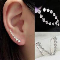 Women Fashion Silver Clear Crystal Stud Ear Climbers Earrings Jewelry Gift