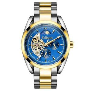MENS EDISON AUTOMATIC WATCH MOONPHASE DIAL BLUE DIAL SILVER GOLD COLOUR STRAP