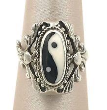Vintage .925 Sterling Silver & Onyx Decorative Yin Yang Ring, Size 5.25