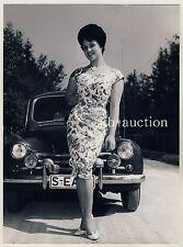 WOMAN IN DRESS Renault 4CV FRAU IM KLEID * Vintage 50s Fashion Photo by SEUFERT