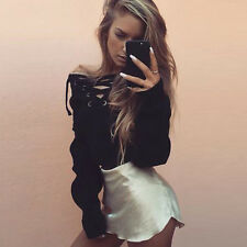 Womens Cross Lace-up Hoodie Long Sleeve Jumper Pullover Sweatshirt Tops T Shirts