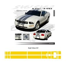 Ford Mustang GT 2005 to 2009 Bright Yellow Bumper to Bumper Stripes Graphic Kit