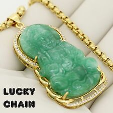 Jade chains necklaces pendants for men ebay 14k gold finish iced out jade buddha pendant 24round box chain 32g pc79 aloadofball Choice Image