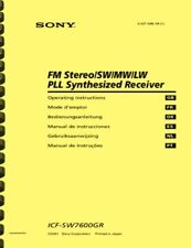 Sony ICF-SW7600GR World Band Receiver OWNER'S MANUAL and SERVICE MANUAL
