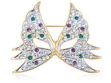 Fashion Women Girl Silver Crystal Rhinestone Mask Pin Brooch Party Jewelry Gift