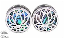 Pair Shell Tree of Life Lotus Mandala Screw Ear Tunnels Plugs Stretchers 8-20mm