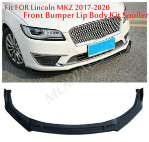 Fit For Lincoln MKZ 2017 2019-2020 Glossy black Front Bumper Lip Cover Trim 3PCS