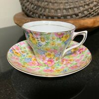 """Rosina Queens #5005 Footed 2 1/2"""" Cup & Saucer Floral Chintz England - Excellent"""