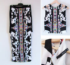 Seduce Sz8 Colourful Tribal Geometric Print Sleeveless Crop Top Skirt Outfit Set