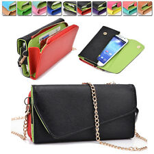 PU Leather Smart-Phone Fashion Wallet Case Cover & Crossbody Clutch X6UB2