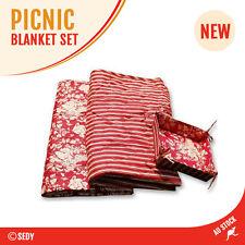 125CM X 125CM Camping Picnic Cusion Blanket Mat + Bread Basket Tent Brand New